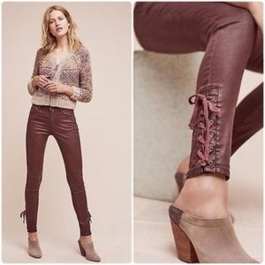 Anthropologie Pilcro Coated Ankle Lace Up Pants